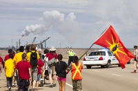tar-sand;tar-sands;oil-sand;oil-sands;oil-industry;fossil-fuel;climate-change;global-warming;industry;heavy-industry;industrial;Athabasca;Alberta;Canada;Indian;First-Nation;Healing-Walk;protest;protesting;heal;destruction;banner;start;stop;breathing-mask;pollution;contamination;contaminated;strip-mining;Syncrude;Fort-McMurray;dress;traditional;sky;environment;environmental-destruction;carbon-footprint;statement;female;woman;affected;Boreal-Forest;sky;blue;toxic;tailings-pond;oil;bitumen;deposits;oil-reserves;smog;air-pollution;chimney;smoke-stack;emissions;carbon-footprint;flag;solidarity;road;highway;highway-63;police;policing;RCMP;Royal-Canadian-Mounted-Police