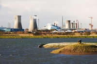 Seal-Sands;Teeside;UK;North-East;industrial;heavy-industry;Billingham;carbon-footprint;C02;climate-change;global-warming;sky;RSPB;nature;nature-reserve;birds;bird-reserve;lake;wetland;marsh;habitat;contrast;urban;urban-wildlife;building;architecture;lake;mere;water;wetland;cooling-tower