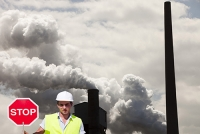 coal;fossil-fuel;emissions;C02;carbon-emissions;dirty;industry;heavy-industry;Bluescope;steel;steel-works;Kembla;Port-Kembla;Wollongong;New-South-Wales;Australia;smoke;smoke-stack;chimney;pollution;polluted;air-quality;industrial;greenhouse-gas;climate-change;global-warming;man;male;stop;sign;stop-sign;high-vis;health-and-safety;PPE;hard-hat;helmet