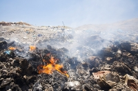 Eresos;Lesbos;Greece;plastic;rubbish;trash;garbage;waste;tip;rubbish-tip;dump;rubbish-dump;landfill;landfill-site;pollution;contamination;island;environment;spoiled;dirty;packaging;glass;bottle;tin-can;fire;burning;smoke;toxic;carcinogenic;pollution;air-pollution
