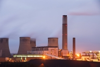 loughborough;carbon-footprint;climate-change;global-warming;UK;Leicestershire;East-Midlands;Ratcliffe-on-Soar;power-station;coal;coal-fired-power-station;cooling-tower;carbon;C02;emissions;concrete;Eon;electricity;power;energy;dirty;pollution;dusk;evening;chimney;fossil-fuel;polluting