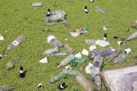 Buenos-Aires;Capital-city;city;Argentina;South-America;Argentinian;green;nature-reserve;Costanera-Sur;tropical;reclaimed;Rio-de-la-Plata;River-Plate;water;lake;wetland;green;water-weed;rubbish;trash;garbage;litter;trashed;plastic;bottle;floating;environment;waste;unnattractive