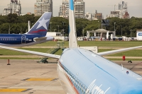 Buenos-Aires;Capital-city;city;Argentina;South-America;Argentinian;town;growth;wealth;economy;modern;airport;plane;airplane;jet;travel;aviation;runway;transport;Ministro-Pistarini-International-Airport;Ezeiza;apartment;tower-block;high-rise;austral;austrla-air
