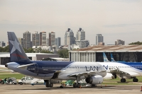 Buenos-Aires;Capital-city;city;Argentina;South-America;Argentinian;town;growth;wealth;economy;modern;airport;plane;airplane;jet;travel;aviation;runway;transport;Ministro-Pistarini-International-Airport;Ezeiza;apartment;tower-block;high-rise;LAN;blue