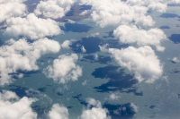plane;airplane;jet;travel;aviation;sky;cloud;cloud-pattern;water-vapour;meteorology;cumulo-nimbus;uplift;convection;cloud-formation;pattern;cotton-wool;white;clear;sky;atmosphere;aerial;shadow;sunlight;coast;sea;Atlantic-ocean;ocean