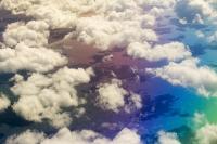 plane;airplane;jet;travel;aviation;sky;cloud;cloud-pattern;water-vapour;meteorology;cumulo-nimbus;uplift;convection;cloud-formation;pattern;cotton-wool;white;clear;sky;atmosphere;aerial;shadow;sunlight;coast;sea;Atlantic-ocean;ocean;rainbow;colour;colourful