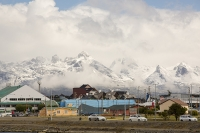 Ushuaia;Tierra-del-Fuego;Argentina;Patagonia;South-America;Austral;town;South;southerly;red;tourism;Isla-Grande-de-Tierra-del-Fuego;Beagle-Channel;Martial-Mountain-Range;travel;car;road;mountain;hill;peak;snow;snow-capped;glacier;sky;rock;rugged;mountain-range