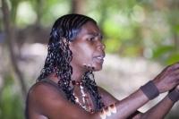 aboriginal;aborigini;indigenous;Australian;first-nation;paint;make-up;traditional;dress;ethnic;ethnicity;culture;proud;Australia;tourism;dreamtime;song-lines;Tjapukai;Tjapukai-Aboriginal-park;Cairns;Queensland;body-adornement;woman;female