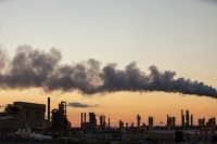 tar-sand;tar-sands;oil-sand;oil-sands;oil-industry;fossil-fuel;climate-change;global-warming;industry;heavy-industry;industrial;Athabasca;Alberta;Canada;destruction;pollution;contamination;contaminated;strip-mining;Fort-McMurray;sky;environment;environmental-destruction;carbon-footprint;statement;affected;Boreal-Forest;toxic;oil;bitumen;deposits;oil-reserves;emissions;carbon-footprint;energy;aerial;aerial-photograph;smoke;emissions;chimney;C02;smoke-stack;air-pollution;Syncrude;sunset;dusk;color;glow;colorful;evening