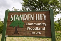Clitheroe;Lancashire;UK;Mitton;sign;tree;forest;woodland;tre-planting;community;community-woodland;Standen-Hey