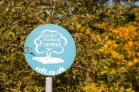 Central-Scotland-Forest;forest;wood;woodland;national-forest;tree-planting;carbon-offset;sign;blue;leaf;website;Falkirk