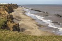 defences;sea;sea-defences;global-warming;sea-level-rise;erosion;coastal-erosion;glacial;till;deposits;beach;cliff;collapse;coast;Happisburgh;Norfolk;sea-defences;rapid-erosion;threat;vulnerable;edge;sea-level-rise;crumbling;soft;concrete