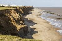 defences;sea;sea-defences;global-warming;sea-level-rise;erosion;coastal-erosion;glacial;till;deposits;beach;cliff;collapse;coast;Happisburgh;Norfolk;sea-defences;rapid-erosion;threat;vulnerable;edge;sea-level-rise;crumbling;soft;caravan;caravan-park