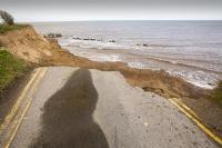 defences;sea;sea-defences;global-warming;sea-level-rise;erosion;coastal-erosion;glacial;till;deposits;beach;cliff;collapse;coast;Happisburgh;Norfolk;sea-defences;rapid-erosion;threat;vulnerable;edge;sea-level-rise;crumbling;soft;road;drop;double-yellow-lines;road-markings