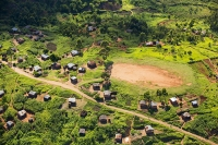 Malawi;Africa;aerial;aerial-photography;land;landscape;green;forest;tree;deforestation;farmland;river;maize;crops;food;subsistence-agriculture;hill;slope;farmstead;house;soil