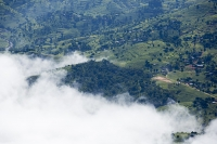 Malawi;Africa;aerial;aerial-photography;land;landscape;green;forest;tree;deforestation;farmland;river;maize;crops;food;subsistence-agriculture;hill;slope;farmstead;house;cloud