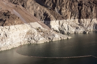USA;US;America;Nevada;desert;Lake-Mead;electricity;generating;renewable;renewable-energy;carbon-neutral;climate-change;global-warming;HEP;hydro;hydro-power;drought;ravine;rock;geology;white;line;exposed;Hoover-Dam