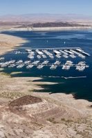 USA;US;America;Nevada;desert;Lake-Mead;climate-change;global-warming;drought;rock;geology;road;white;line;exposed;Hoover-Dam;marina;boat;jetty;wharf