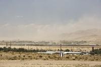 USA;US;America;California;Mojave-Desert;desert;sand;dry;scrub;bush;vegetation;tumble-weed;sky;cloud;dust;dusty;air-pollution;dust-storm;drought;climate-change;global-warming