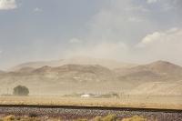 USA;US;America;California;Mojave-Desert;desert;sand;dry;scrub;bush;vegetation;tumble-weed;sky;cloud;dust;dusty;air-pollution;dust-storm;drought;climate-change;global-warming;railway;railroad