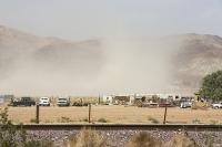 USA;US;America;California;Mojave-Desert;desert;sand;dry;scrub;bush;vegetation;tumble-weed;sky;cloud;dust;dusty;air-pollution;dust-storm;drought;climate-change;global-warming;truck;car;vehicle;pickup-truck;yard