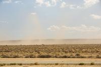 USA;US;America;California;Mojave-Desert;desert;sand;dry;scrub;bush;vegetation;tumble-weed;sky;cloud;dust;dusty;air-pollution;dust-storm;drought;climate-change;global-warming;fence