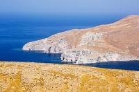 Lesvos;Lesbos;Greece;island;Aegean;dry;barren;drought;summer;vegetation;thorny;prickly;dried-up;hill;vegetation-type;habitat;sparce;hillside;west;rock;rocky;coast;cliff;sea-cliff;geology;erosion