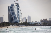 Dubai;Middle-East;arabic;high-rise;tower-block;development;luxury;wealthy;expensive;architecture;design;Emirates;sea;beach;Persian-Gulf;surf;UAE;surfer;surfing