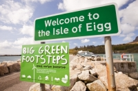 Eigg;island;Scotland;UK;Eigg-Heritage-Trust;community;energy;power;electric;electricity;renewable;renewable-energy;renewable-power;wind-power;solar-power;hydro;hydro-power;clean;green;zero-emissions;climate-change;global-warming;carbon-footprint;feed-in-tariff;future;Eigg-electric;self-sufficient;self-sufficiency;sign;welcome;big;green;footsteps;statement;pride;lifestyle;environment;eco