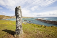 Eigg;island;Scotland;UK;Eigg-Heritage-Trust;community;highland;coast;Galmisdale;stone;standing-stone;plaque;memorial;ancient;pride;buy-out;harbour