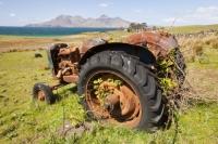 Eigg;island;Scotland;UK;Eigg-Heritage-Trust;community;highland;coast;sea;Hebrides;Inner-Hebrides;bay;Laig;Laig-Bay;Bay-of-Laig;croft;crofting;farm;farming;Rhum;Isle-of-Rhum;mountains;Rhum-Cuillin;West;landscape;green;pasture;tree;shrub;habitat;outlook;sky;blue;sunny;Spring;cloud;rust;rusting;old;abandoned;derelict;implement;farming;farm-machinary;tractor;bramble;blackberry;overgrown;tyre
