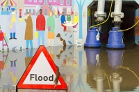 Floods;flooding;flooded;Cumbria;Carlisle;UK;weather;extreme-weather;climate-change;global-warming;deluge;heavy-rain;wet;sodden;road;pipe;piping;pump;pumping;flood-water;flood-waters;draining;aftermath;cleanup;clear-up;Storm-Desmond;Environment-Agency;cost;insurance;insurance-claim;Sands-Centre;tunnel;underpass;colourful;art;street-art;mural;pedestrian;Hardwicke-Circus;pipe;piping;pumping;pumping-out;sign;road-sign;warning;triangle;composite