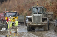 Floods;flooding;flooded;Cumbria;Lake-District;UK;weather;extreme-weather;climate-change;global-warming;deluge;torrential-rain;downpour;meteorology;low-pressure;weather-front;flood-waters;Thirlmere;A591;road;swept-away;undermined;flood-damage;road-closed;power;car;flood;landrover;vehicle;emergency;emergency-services;Army;soldier;British-Army;emergency;bulldozer;shovel;clearing;clearup;cleanup;plant;heavy-machinery;yellow;red;high-vis;PPE;helmet;health-and-safety