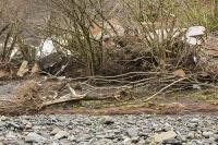 Floods;flooding;flooded;Cumbria;Lake-District;UK;Keswick;weather;extreme-weather;climate-change;global-warming;deluge;torrential-rain;downpour;meteorology;low-pressure;weather-front;rain;raining;heavy-rain;precipitation;flood-waters;river;swept-away;undermined;flood-damage;power;caravan;destroyed;destruction;flood-damage;ripped-apart;River-Greta;island;debris;tree