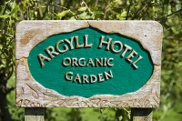 Scotland;UK;Mull;Isle-of-Mull;Inner-Hebrides;coast;West-Coast;Iona;island;summer;garden;organic;garden;hotel-garden;Argyll-hotel;wood;carving;sign