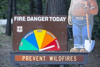 USA;US;America;California;drought;climate-change;global-warming;dried-up;wild-fire;bush-fire;King-Fire-El-Dorado-National-Forest;Georgetown;forest;tree;conifer;pine-tree;woodland;habitat;consequence;fire-prevention;Smokey;bear;extreme;extreme-fire-danger;warning
