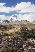 South-America;Bolivia;La-Paz;city;house;housing;dense;density;slope;hilly;Andes;altitude;high;infrastructure;overcrowded;population;building;buildings;mountain;snow;glacier;glacial-retreat;backdrop;Huayna-Potosi;Altiplano;mountain-range;Cordillera-Real