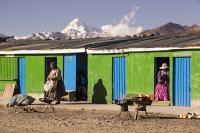 South-America;Bolivia;La-Paz;indigenous;ethnic;ethnicity;Indian;people;Huayna-Potosi;El-Alto;mountain;altitude;high;snow;glacier;backdrop;glacial-retreat;climate-change;global-warming;mountain-range;Cordillera-Real;Altiplano;fire;brazier