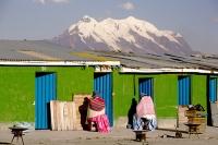 South-America;Bolivia;La-Paz;indigenous;ethnic;ethnicity;Indian;people;Illimani;El-Alto;mountain;altitude;high;snow;glacier;backdrop;glacial-retreat;climate-change;global-warming;mountain-range;Cordillera-Real;Altiplano