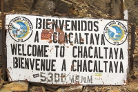 South-America;Bolivia;La-Paz;slope;hilly;Andes;mountain;altitude;high;El-Alto;snow;glacier;Altiplano;mountain-range;Cordillera-Real;Chacaltaya;glacial-retreat;climate-change;global-warming;rock;geology;glacier;disappeared;sign;welcome;Spanish;5300-metres;skiing;ski-club;abandoned