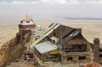 South-America;Bolivia;La-Paz;slope;hilly;Andes;mountain;altitude;high;El-Alto;snow;glacier;Altiplano;mountain-range;Cordillera-Real;Chacaltaya;glacial-retreat;climate-change;global-warming;rock;geology;glacier;disappeared;5300-metres;skiing;ski-club;abandoned;house;hut;perched;minibus;El-Alto