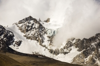 South-America;Bolivia;La-Paz;Huayna-Potosi;El-Alto;mountain;altitude;high;snow;glacier;backdrop;glacial-retreat;climate-change;global-warming;mountain-range;Cordillera-Real;Altiplano;glaciated;snowpack;melting;water-supply;track;off-road;road;moraine;lateral-moraine