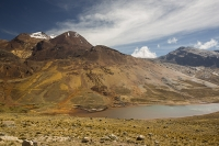 South-America;Bolivia;La-Paz;slope;hilly;Andes;mountain;altitude;high;El-Alto;snow;glacier;Altiplano;mountain-range;Cordillera-Real;Chacaltaya;glacial-retreat;climate-change;global-warming;grass;grassland;rock;geology;glacier;disappeared;lake;water;drought