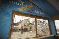 South-America;Bolivia;La-Paz;slope;hilly;Andes;mountain;altitude;high;El-Alto;snow;glacier;Altiplano;mountain-range;Cordillera-Real;Chacaltaya;glacial-retreat;climate-change;global-warming;rock;geology;glacier;disappeared;5300-metres;skiing;ski-club;abandoned;hut;club;hut;window;view;vista