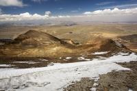 South-America;Bolivia;La-Paz;slope;hilly;Andes;mountain;altitude;high;El-Alto;snow;glacier;Altiplano;mountain-range;Cordillera-Real;Chacaltaya;glacial-retreat;climate-change;global-warming;rock;geology;glacier;disappeared;5300-metres;skiing;ski-club;abandoned;hut;club;hut;snow;snow-slope