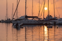 Sivota;Greece;Mediterranean;sea;coast;ship;marine;boat;yacht;sailing;sailing-boat;boat;harbour;haven;lagoon;holiday;tropical;warm;hot;tranquill;calm;serene;port;sunset;evening;glow;warm;light;waterfront;glow;sun;orange;dusk