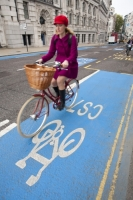 IMG_8655_woman.jpg A cyclist on one of the new Cycle Superhighways, in this case the CS7 that goes from Southwark bridge to Tooting. It makes cycling much safer and encourages moe people to take their journey by bike, reducing congestion and the greenhouse gas emissions from other typs of transport.