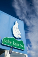 Greenland;Kangerlussuaq;climate-change;global-warming;Inn;pub;Polar-Bear-Inn;Polar-Bear;sign;Arctic