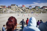 climate-change;global-warming;Greenland;Arctic;Illulissat;Unesco-world-heritage-site;landscape;summer;Illulissat-ice-fjord;sermeq-kujalleq;summer;Inuit;Jacobshaven;Jacobshaven-glacier;isbrae;fjord;football;match;football-match;game;sport;competition;team;teams;pitcj;dirt;dusty;dust;fitness;energy;exercise;rock;house;housing;colour;colourful;Greenlandic;crowd;spectate;spectator;watching;fan