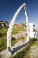 whale;whaling;whale-bone;arch;jaw-bone;bone;tradition;Inuit;Eskimo;ilulissat;Greenland;whale-blubber;render;vat;whale-oil;industry;hunting;preserved;house;red;colourful;village;town;community